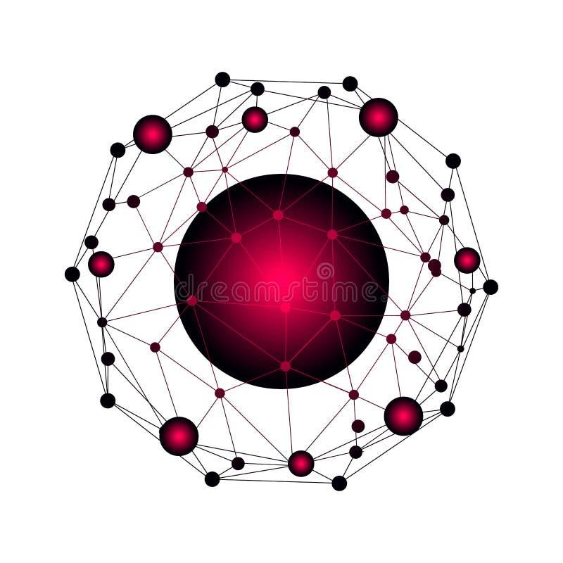 Netwerk en gegevensuitwisseling over aarde in ruimte Virtuele Grafische Communicatie Als achtergrond met Wereldbol royalty-vrije illustratie