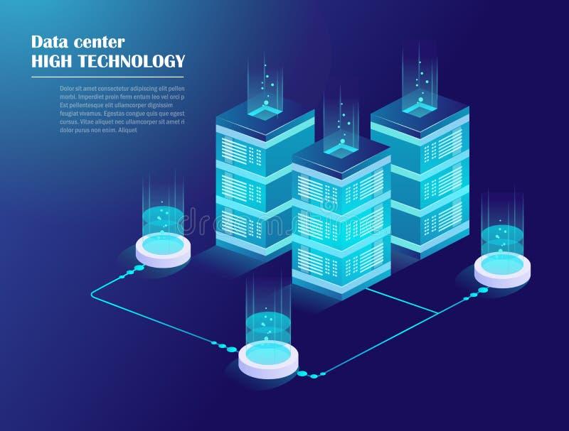 Netwerk en grote gegevens - verwerking stock illustratie