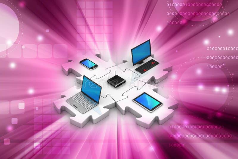Netwerk en Internet-mededeling stock illustratie