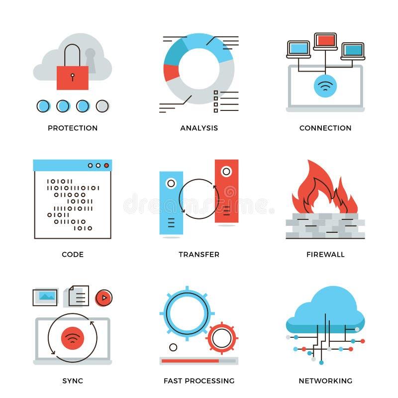 Netwerk en verbindings geplaatste de pictogrammen van de elementenlijn royalty-vrije illustratie