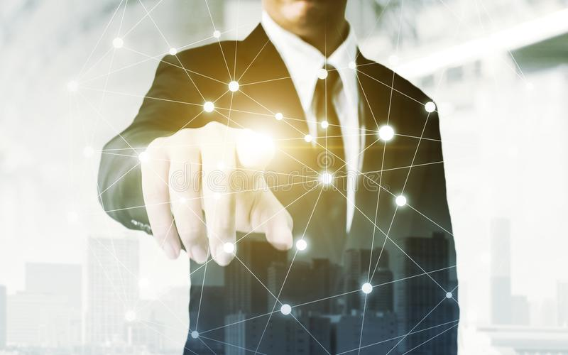Netwerk en Verbindingstechnologieconcept, Dubbele blootstelling van bu royalty-vrije stock afbeeldingen