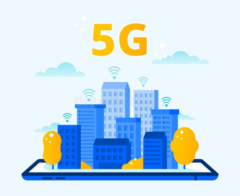 Netwerk5g dekking Stad draadloos Internet, vijfde generatienetwerken en vector van de hoge snelheids de stedelijke 5G verbinding stock illustratie