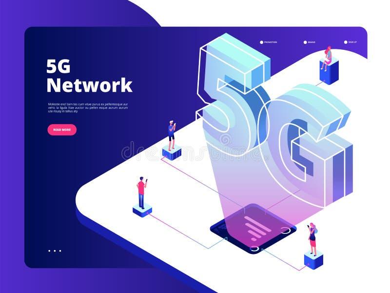 Netwerk 5g Draadloos van de technologieinternet van de gegevenstransmissie 5g de snelheids breedband vijf hotspots wifi globaal v royalty-vrije illustratie