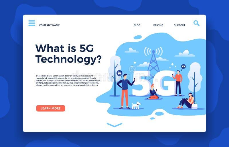 Netwerk5g landingspagina Snel Internet, draadloze hoge snelheidsverbinding en de vectorillustratie van vijfde generatienetwerken royalty-vrije illustratie