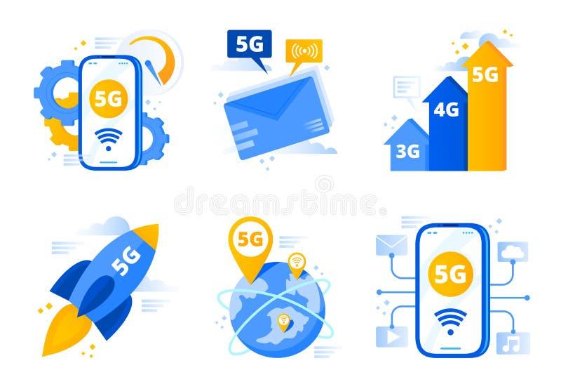 Netwerk 5g Vijfde generatietelecommunicaties, snelle Internet-verbindingssnelheid en de lage vector van latentienetwerken stock illustratie