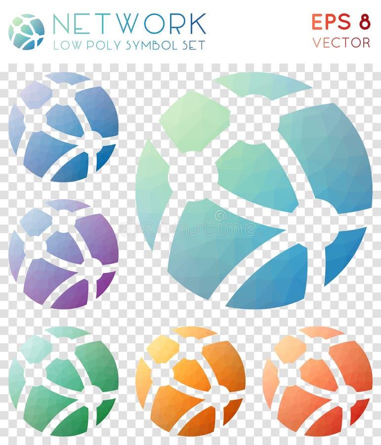 Netwerk geometrische veelhoekige pictogrammen royalty-vrije illustratie