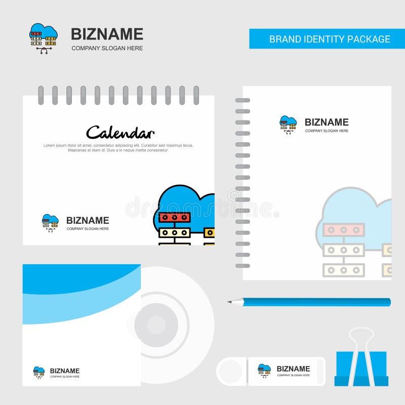 Netwerk het communicatie Embleem, van het Kalendermalplaatje, CD van de Dekking, van de Agenda en USB-van het Merk Stationaire Pa vector illustratie