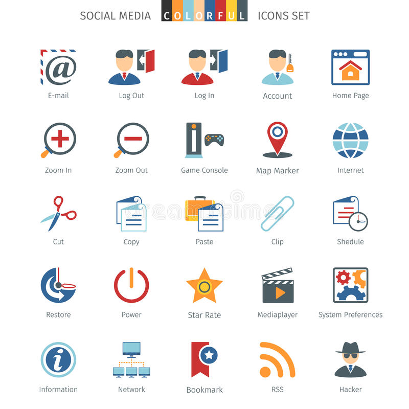 Netwerk Kleurrijke Pictogrammen stock illustratie