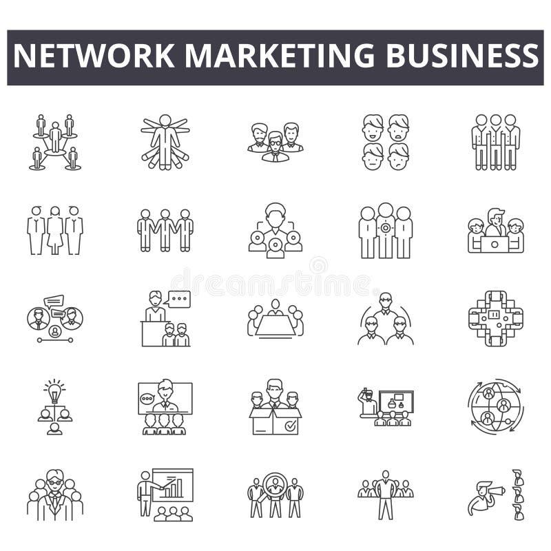 Netwerk marketing bedrijfslijnpictogrammen, tekens, vectorreeks, lineair concept, overzichtsillustratie vector illustratie