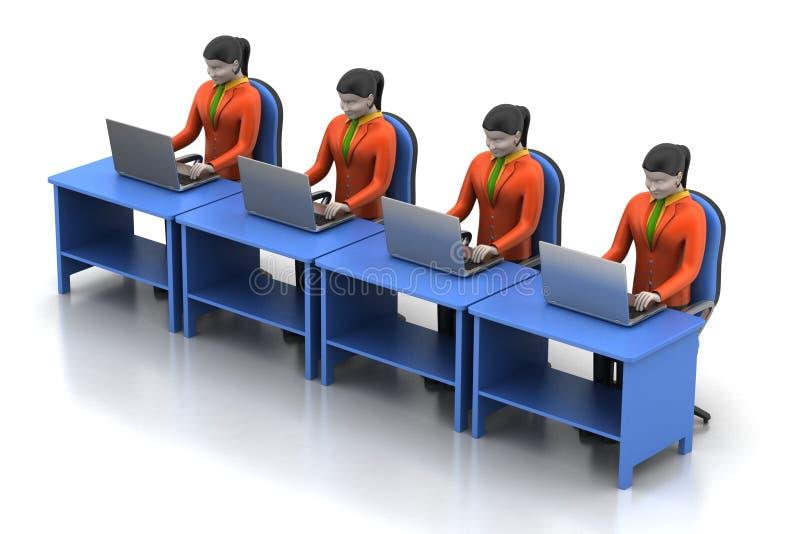 Netwerk met laptop royalty-vrije illustratie