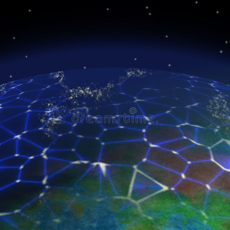 Netwerk op planeet geproduceerde textuurachtergrond stock illustratie