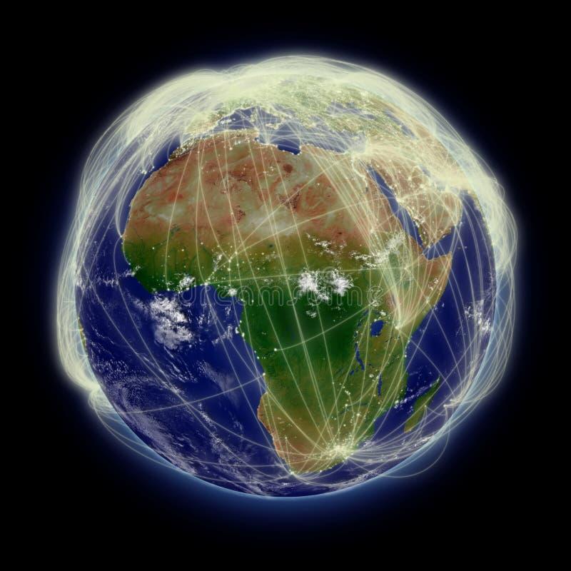 Netwerk over Afrika royalty-vrije illustratie