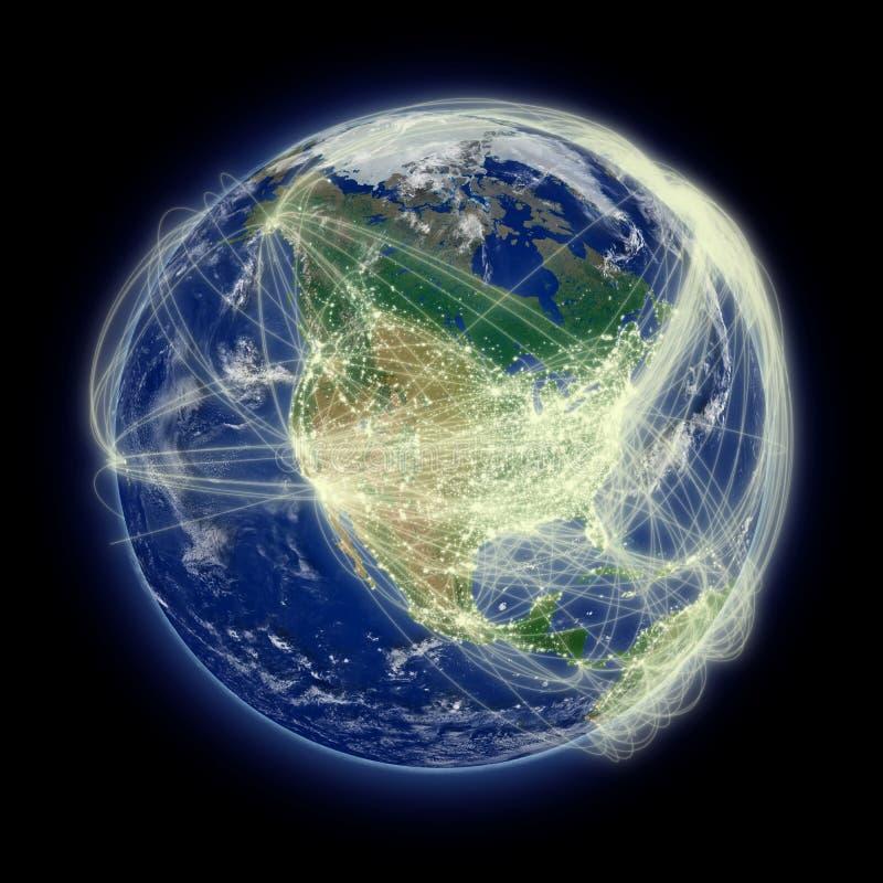 Netwerk over Noord-Amerika stock illustratie