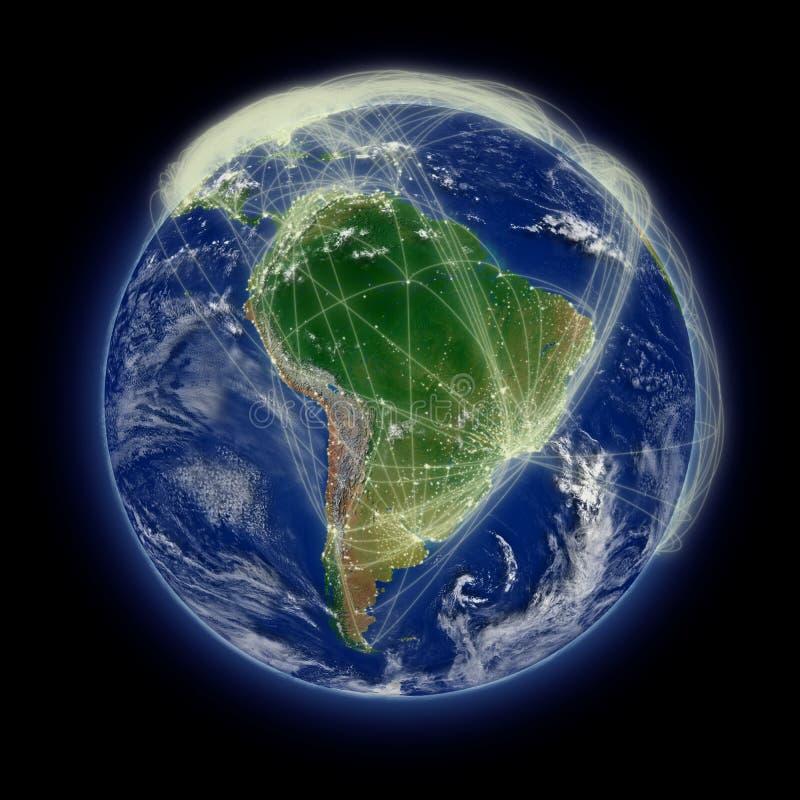 Netwerk over Zuid-Amerika royalty-vrije illustratie
