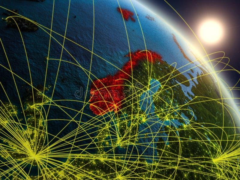Netwerk rond Noorwegen van ruimte vector illustratie