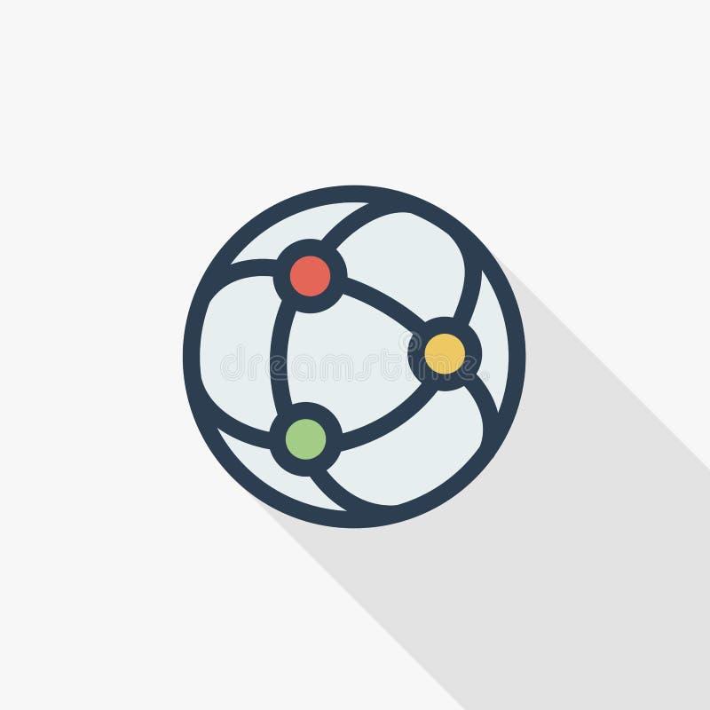 Netwerk, sociale media, globale mededeling, pictogram van de de lijn vlakke kleur van Internet het dunne Lineair vectorsymbool Kl royalty-vrije illustratie