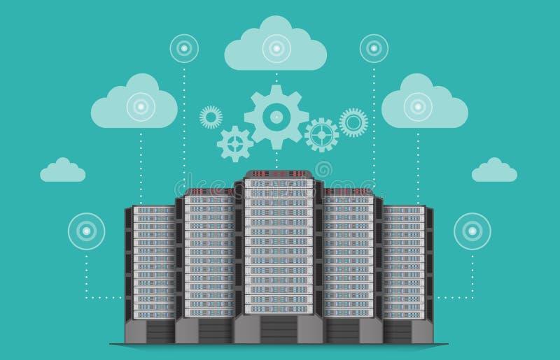 Netwerk van de communicatie het concept servercomputer stock illustratie