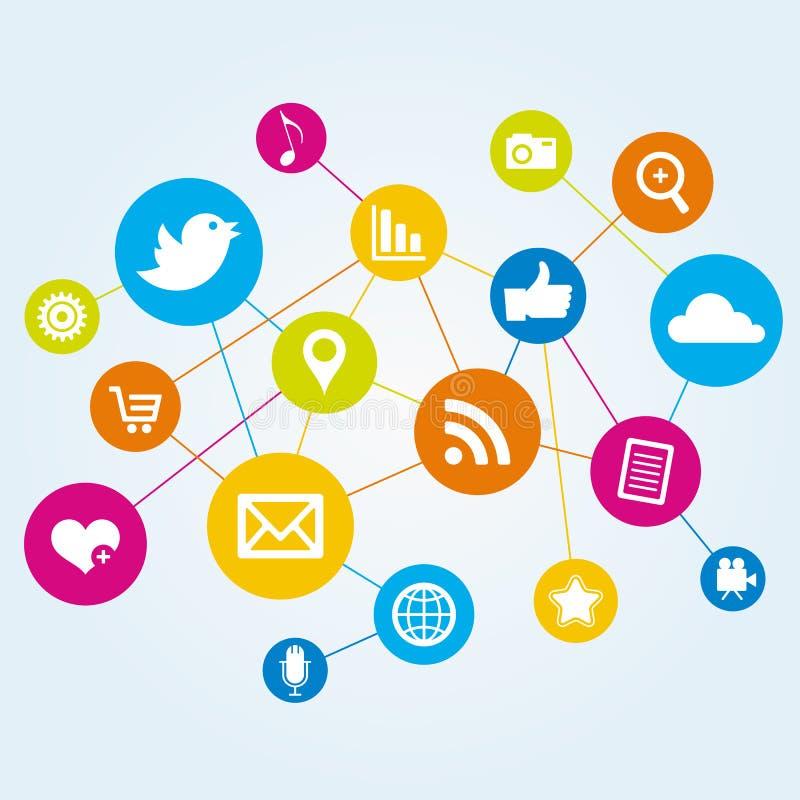Netwerk van Online Media Pictogrammen stock illustratie