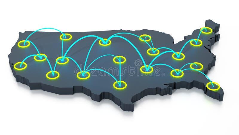 Netwerk van reispunten op de kaart van de V.S. 3D Illustratie vector illustratie