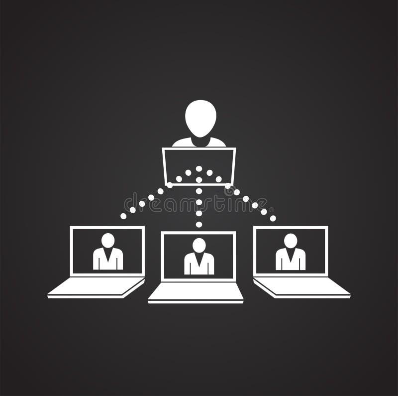 Netwerk van verbonden mensen op zwarte achtergrond vector illustratie
