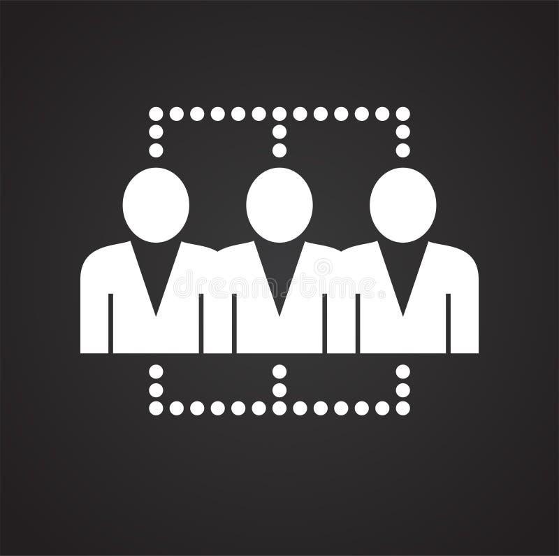 Netwerk van verbonden mensen op zwarte achtergrond stock illustratie