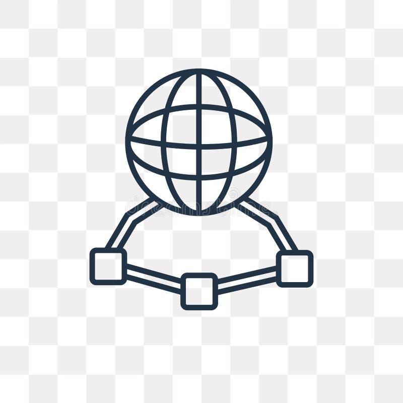 Netwerk vectordiepictogram op transparante achtergrond, lineair N wordt geïsoleerd vector illustratie