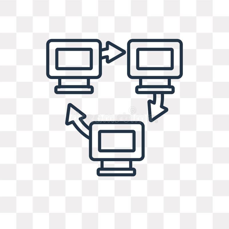 Netwerk vectordiepictogram op transparante achtergrond, lineair N wordt geïsoleerd stock illustratie