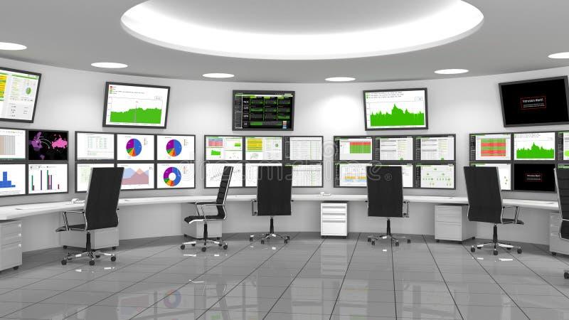 Netwerk/Veiligheidsverrichtingencentrum (NOC/Soc) royalty-vrije illustratie