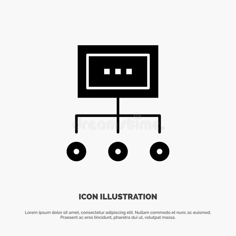 Netwerk, Zaken, Grafiek, Grafiek, Beheer, Organisatie, Plan, het Pictogramvector van Proces stevige Glyph royalty-vrije illustratie