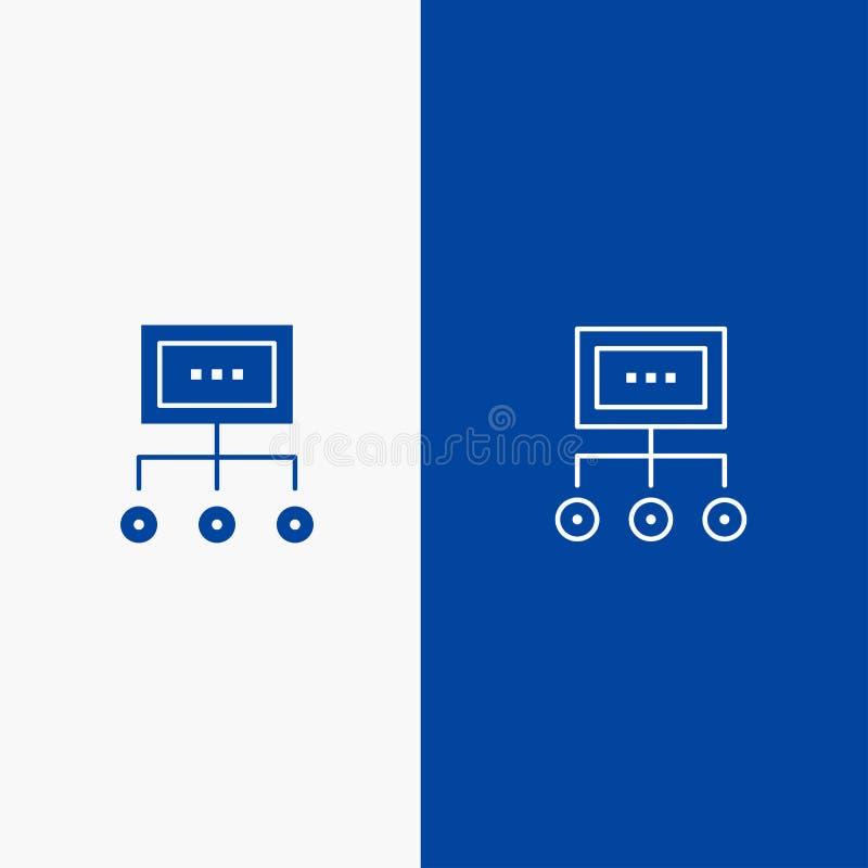 Netwerk, Zaken, Grafiek, Grafiek, Beheer, Organisatie, Plan, Proceslijn en Glyph van de het pictogram Blauwe banner van Glyph de  royalty-vrije illustratie