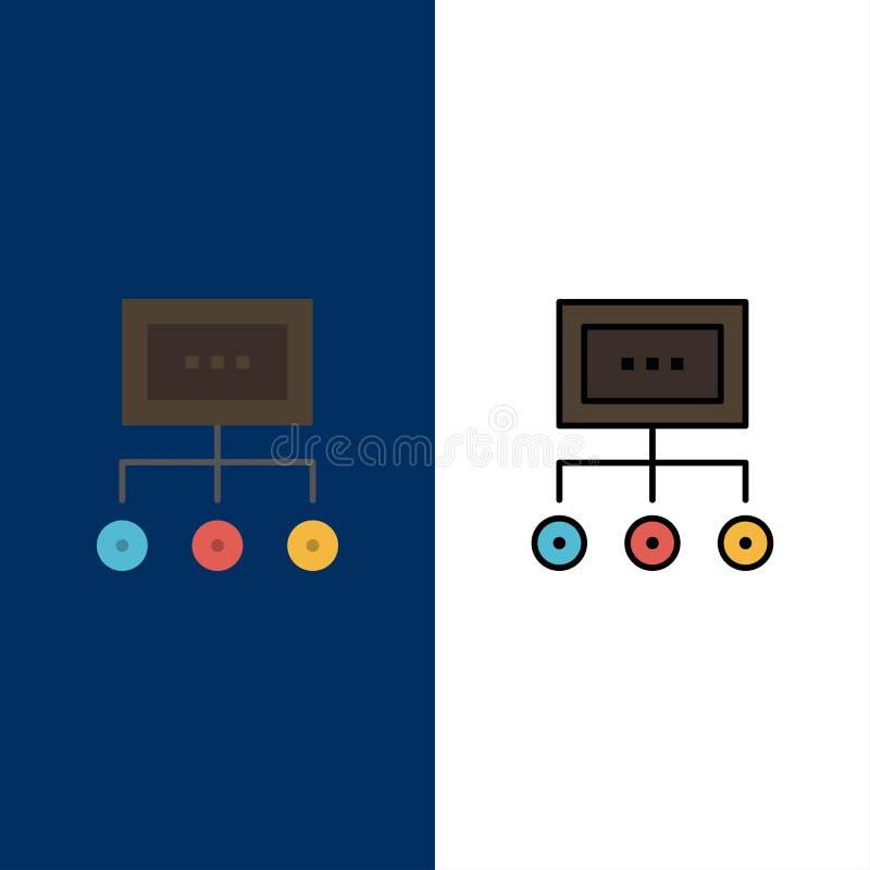 Netwerk, Zaken, Grafiek, Grafiek, Beheer, Organisatie, Plan, Procespictogrammen Vlak en Lijn vulde Pictogram Vastgesteld Vectorbl vector illustratie