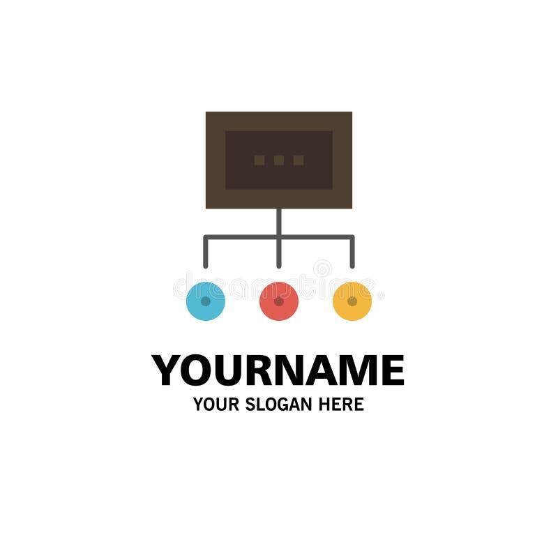 Netwerk, Zaken, Grafiek, Grafiek, Beheer, Organisatie, Plan, Proceszaken Logo Template vlakke kleur royalty-vrije illustratie