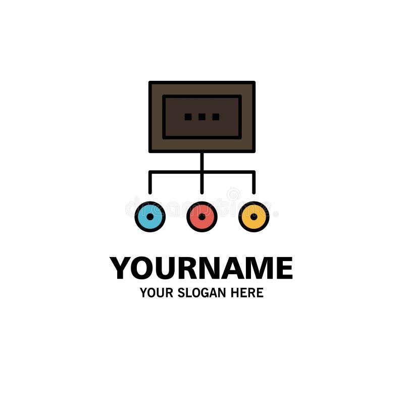Netwerk, Zaken, Grafiek, Grafiek, Beheer, Organisatie, Plan, Proceszaken Logo Template vlakke kleur stock illustratie