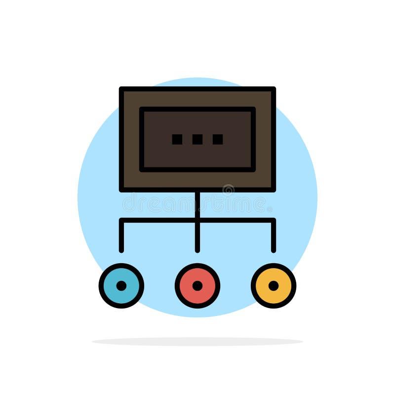 Netwerk, Zaken, Grafiek, Grafiek, Beheer, Organisatie, Plan, van de Achtergrond proces Abstract Cirkel Vlak kleurenpictogram stock illustratie