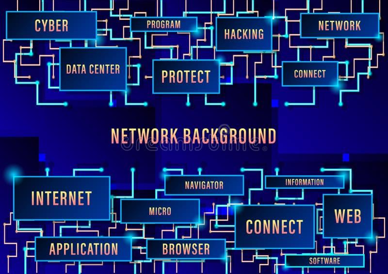 Netwerkachtergrond, de binaire toekomstige technologie van de kringsraad, blauwe het conceptenachtergrond van de cyberveiligheid, stock illustratie