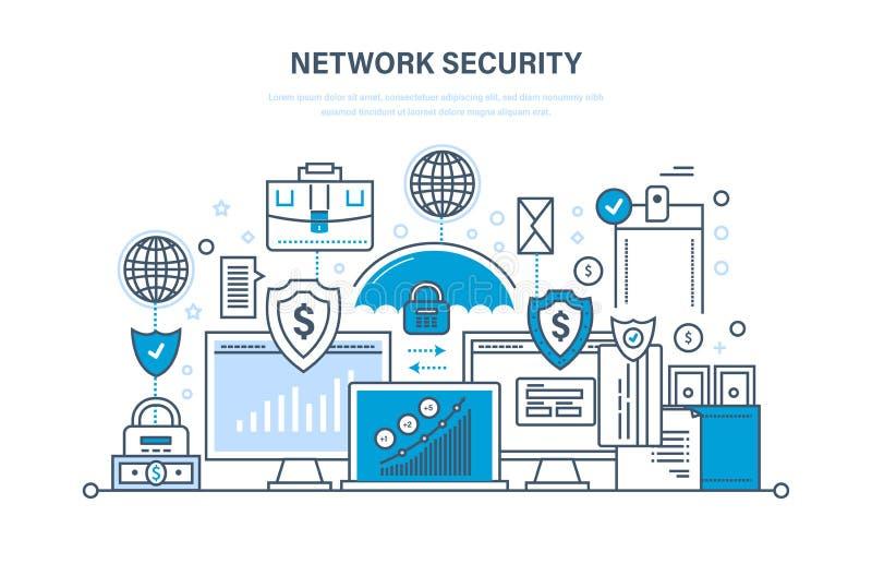 Netwerkbeveiliging, persoonlijke gegevensbescherming, betalingsveiligheid, veilig gegevensbestand stock illustratie