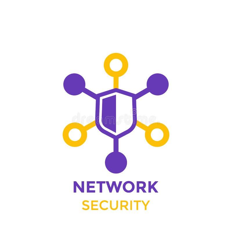 Netwerkbeveiligingpictogram, vectorembleem op wit stock illustratie