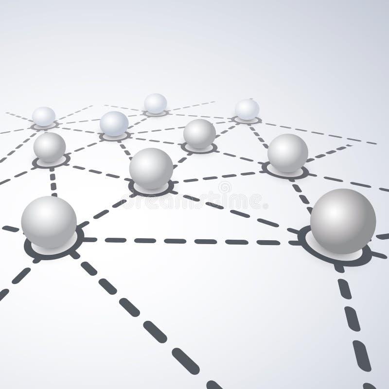 Netwerkenconcept - Verbonden Bollenontwerp vector illustratie
