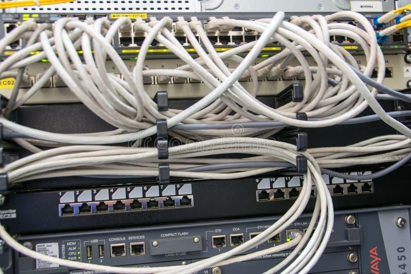 Netwerkkabels in de schakelaar stock foto