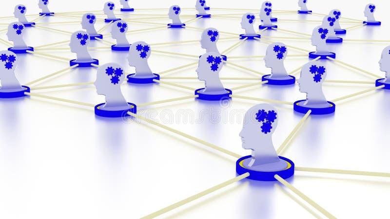 Netwerkmachine het leren concept met hoofdsymbolen royalty-vrije illustratie