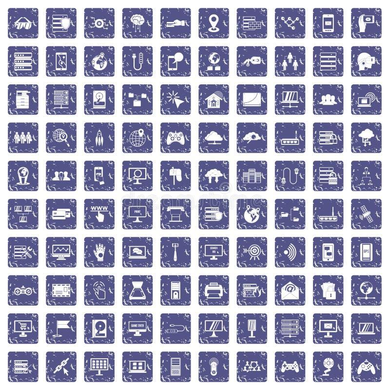 Download 100 Netwerkpictogrammen Geplaatst Grunge Saffier Vector Illustratie - Illustratie bestaande uit mensen, contract: 107709117