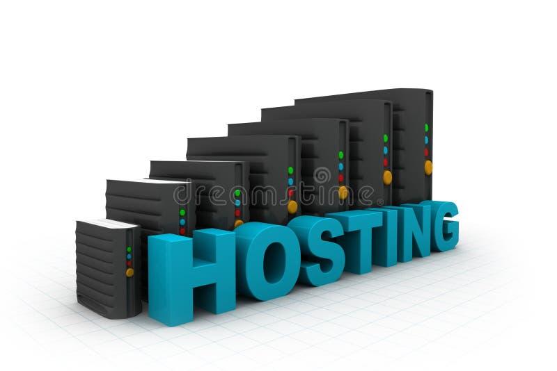Netwerkservers in gegevenscentrum stock illustratie