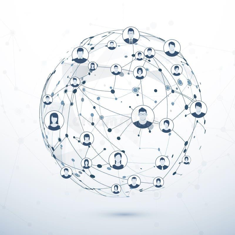 Netwerkstructuur Sociaal media concept Vector illustratie royalty-vrije illustratie