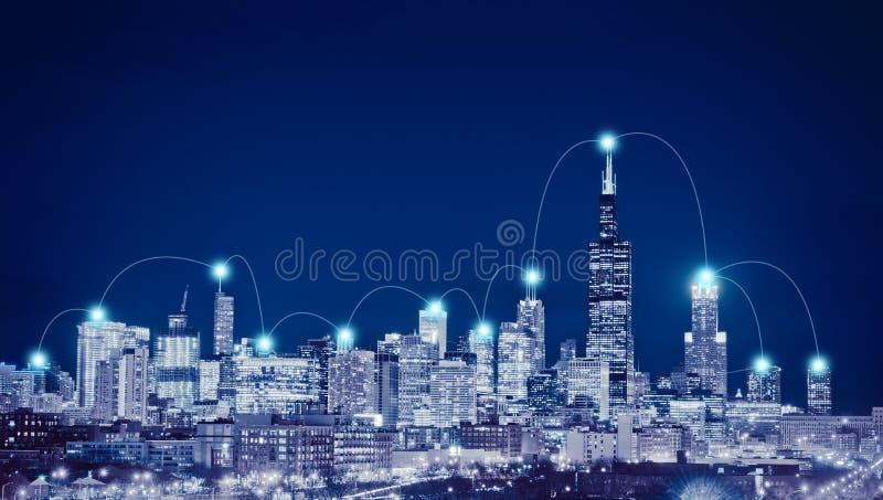Netwerkverbinding en globaal bedrijfsconcept in de Stad van Chicago vector illustratie