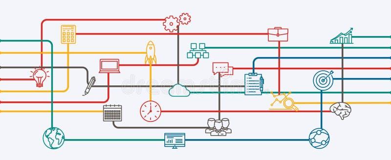 Netwerkverbindingen, planning en strategie van opstarten een bedrijfsproject stock illustratie