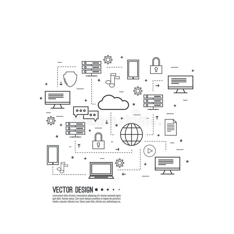 Netwerkwolk gegevensverwerking stock illustratie