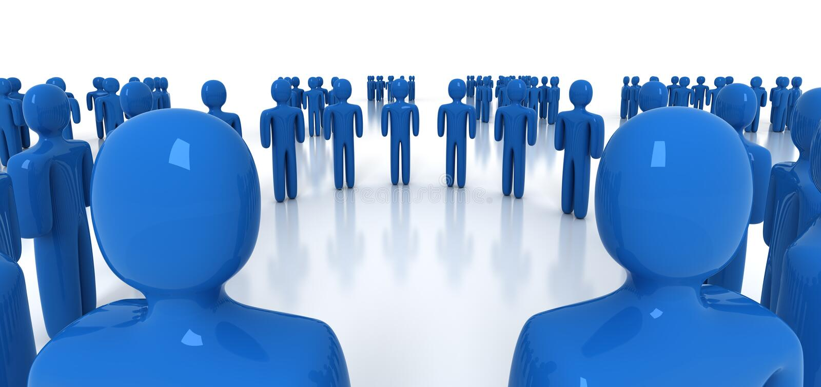 Network. People network in blue - 3d render vector illustration