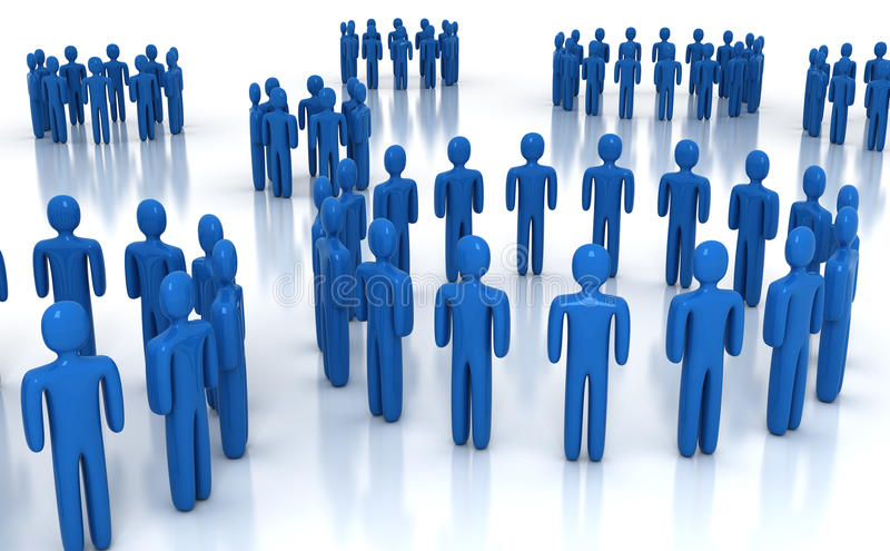Network. People network in blue - 3d render vector illustration