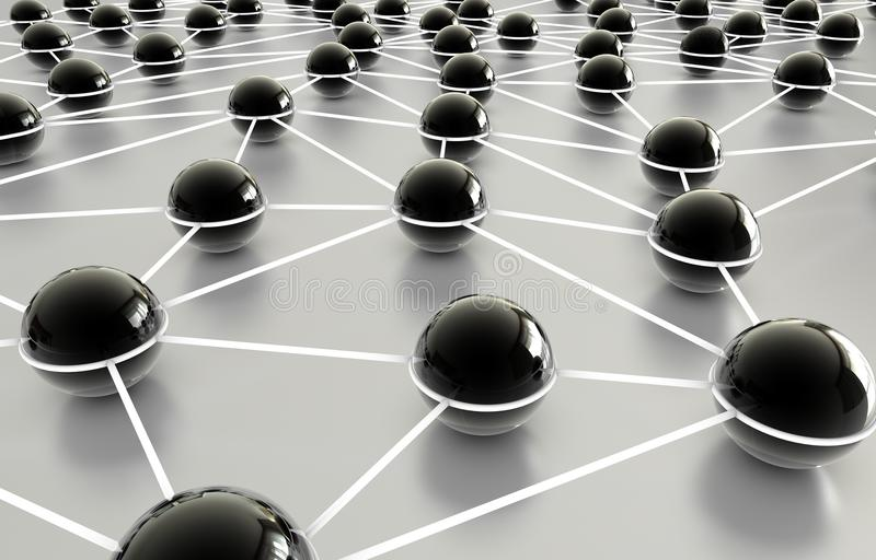 Network. Grid connected balls with reflection royalty free illustration