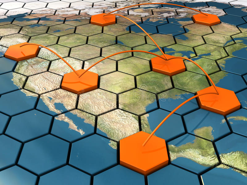 Network. Abstract 3d illustration of cellular network on map stock illustration